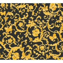 Versace florale Mustertapete Butterfly Barocco Vliestapete gelb metallic schwarz 343252