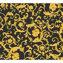 Versace florale Mustertapete Butterfly Barocco Vliestapete gelb metallic schwarz 343262