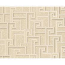 Versace grafische Mustertapete Greek, Tapete, beige, creme, metallic