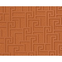 Versace grafische Mustertapete Greek, Tapete, braun, metallic, orange