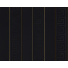 Versace grafische Mustertapete Greek, Tapete, metallic, schwarz 935244