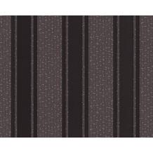 Versace grafische Streifentapete Greek, Tapete, grau, metallic, schwarz