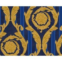 Versace klassische Mustertapete Barocco and Stripes, Tapete, blau, metallic
