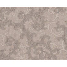 Versace klassische Mustertapete Baroque & Roll, Tapete, braun, grau, metallic 962311