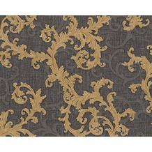 Versace klassische Mustertapete Baroque & Roll, Tapete, grau, metallic, schwarz 962316