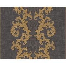 Versace klassische Mustertapete Baroque & Roll, Tapete, grau, metallic, schwarz 962326