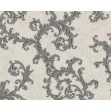 Versace klassische Mustertapete Baroque & Roll, Tapete, grau, metallic, weiß 962315