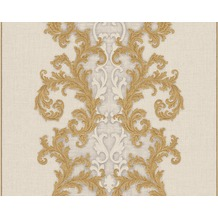 Versace klassische Mustertapete Baroque & Roll, Tapete, grau, metallic, weiß 962324