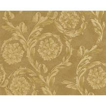 Versace klassische Mustertapete Creamy Barocco, Tapete, gelb, metallic