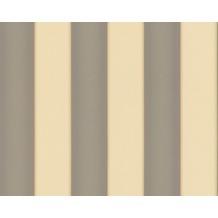 Versace Streifentapete Herald, Tapete, creme, grau, metallic