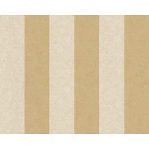 Versace Streifentapete Pompei, Tapete, beige, gelb, metallic