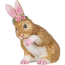 Villeroy & Boch Easter Bunnies Hase klein, putzend mit Blumenkranz weiß,gelb