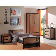Vipack Set Alex best. aus Nachtkonsole, Einzelbett 90x200, Bettschublade, Kleiderschrank 2-trg. und Kommode Kiefer gebürstet cognacfarbig