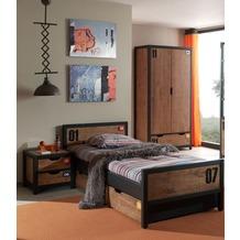 Vipack Set Alex best. aus Nachtkonsole, Einzelbett 90x200, Bettschublade, Kleiderschrank 2-trg. Kiefer gebürstet cognacfarbig