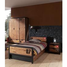 Vipack Set Alex best. aus Nachtkonsole, Einzelbett 90x200, Bettschublade, Kleiderschrank 3-trg. Kiefer gebürstet cognacfarbig