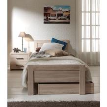 Vipack Set Aline best. aus Einzelbett 90x200, Bettschublade und Nachtkonsole Sonoma Eiche Dekor hell