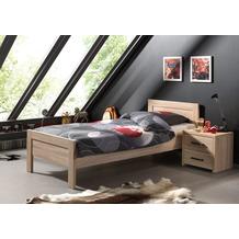 Vipack Set Aline best. aus Einzelbett 90x200 und Nachtkonsole Sonoma Eiche Dekor hell