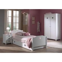 Vipack Set Amori bestehend aus: Einzelbett, Bettschublade, Nachtkonsole und Kleiderschrank 2-trg. Weiß