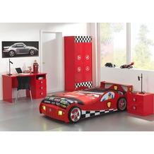 Vipack Set Monza bestehend aus: Autobett, Nachtkonsole, Kleiderschrank 2-trg. und Schreibtisch Rot