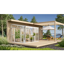 vitavia Anlehngewächshaus Athena Einscheibenglas/Hohlkammerplatte, weiss 7,0 m²