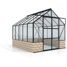 vitavia Gewächshausset Cassandra Einscheibenglas 3mm, schwarz, inkl. Sockel sandstein 8,3 m²