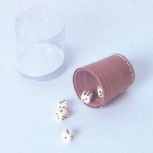 Weible Spiele Leder-Würfelbecher natur 5 cm und 6 Würfel