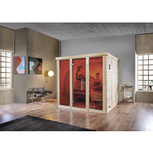 Weka Desgin-Sauna Kemi Panorama 3 inkl. 7,5 kW BioS-Ofen inkl. Farbvisionen Set A