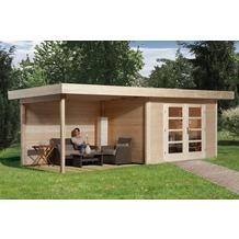 Weka Designhaus 126 B Gr.2, natur, 28 mm, DT, Anbau 300 cm, ohne RW