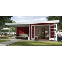Weka Designhaus 126 B Gr.1, schwedenrot, 28 mm, DT, Anbau 300 cm, ohne RW