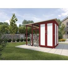 Weka Garten [Q] Modul Family, seitlicher Anbau offen, schwedenrot/weiß