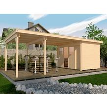 Weka Lounge-Haus 225 B Gr. 2, natur, 21 mm, Schiebetür, Lounge 450 cm, ohne RW