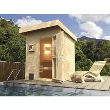 Weka Saunahaus NAANTALI inkl. Saunaofen OS , mit Sauna-Spezial-Leuchtenset und selbstklebender Dachbahn anthrazit