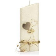 Wiedemann Hochzeitskerze Perlmutt, creme, 1 Stück, Höhe 220 mm, ø 85 mm, Gold