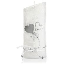 Wiedemann Hochzeitskerze Perlmutt, weiß, 1 Stück, Höhe 220 mm, ø 85 mm, Silber