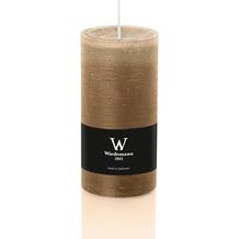 """Wiedemann """"Wiedemann Marble Kerze"""", durchgefärbt mit Banderole, ASF inkl., 8 Stück, Höhe 120 mm, ø 58 mm, Sand"""