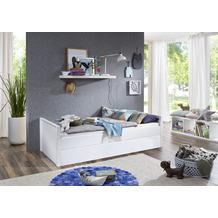 Wohngebiet Einzelbett LUKA 90x200 oRR MDF/Buche massiv weiß lackiert