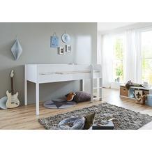 Wohngebiet Hochbett LUKA 90x200 mRR MDF/Buche massiv weiß lackiert