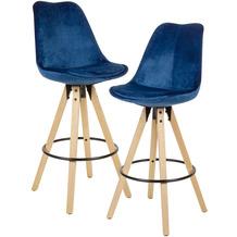 Wohnling 2er Set Barhocker Dunkelblau Samt / Massivholz, Design Barstuhl Skandinavisch 2 Stück, Tresenhocker mit Lehne Sitzhöhe 77 cm blau