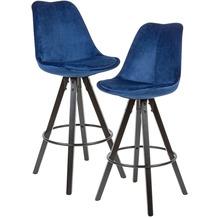 Wohnling 2er Set Barhocker Dunkelblau / Schwarz | Design Barstuhl Samt / Massivholz Skandinavisch 2 Stück | Tresenhocker mit Lehne Sitzhöhe 77 cm