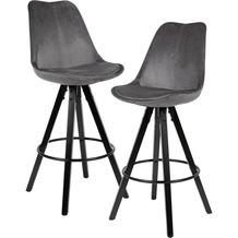 Wohnling 2er Set Barhocker Dunkelgrau / Schwarz | Design Barstuhl Samt / Massivholz Skandinavisch 2 Stück | Tresenhocker mit Lehne Sitzhöhe 77 cm