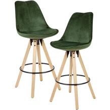 Wohnling 2er Set Barhocker Grün Samt / Massivholz, Design Barstuhl Skandinavisch 2 Stück, Tresenhocker mit Lehne Sitzhöhe 77 cm grün