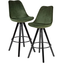 Wohnling 2er Set Barhocker Grün / Schwarz | Design Barstuhl Samt / Massivholz Skandinavisch 2 Stück | Tresenhocker mit Lehne Sitzhöhe 77 cm