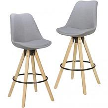 Wohnling 2er Set Barhocker LIMA Grau Retro Design Stoff Holz mit Lehne, Skandinavisch 2 Stk, Sitzhöhe 72 cm