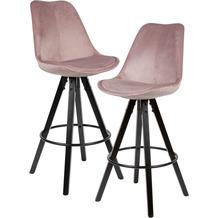 Wohnling 2er Set Barhocker Rosa / Schwarz | Design Barstuhl Samt / Massivholz Skandinavisch 2 Stück | Tresenhocker mit Lehne Sitzhöhe 77 cm