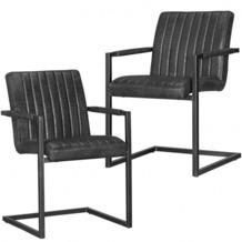 Wohnling 2er Set Esszimmerstühle MAGNUS Vintage schwarz 55x86x50 cm Metallgestell, Mikrovelour Freischwinger in Wildlederoptik, Meetingstühle mit schwarzen Rahmen