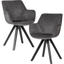 Wohnling 2er Set Esszimmerstuhl Samt Dunkelgrau mit Armlehnen, Küchenstühle Modern mit schwarzen Beinen