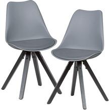 Wohnling 2er Set Retro Esszimmerstuhl grau mit Schwarzen Beinen, Küchenstuhl Kunstleder gepolstert