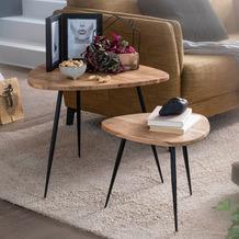 Wohnling 2er Set Satztisch Akazie Massivholz, Design Beistelltisch mit Metallgestell