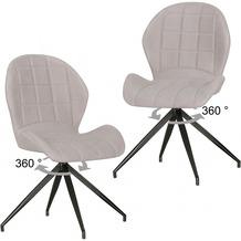 Wohnling 2er Set Vintage Design Esszimmerstühle YURI 360° drehbar Grau gepolstert, Polsterstühle mit Lehne und Metallbeinen, Doppelpack Küchenstühle