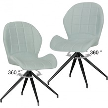 Wohnling 2er Set Vintage Design Esszimmerstühle YURI 360° drehbar Grün gepolstert, Polsterstühle mit Lehne und Metallbeinen, Doppelpack Küchenstühle